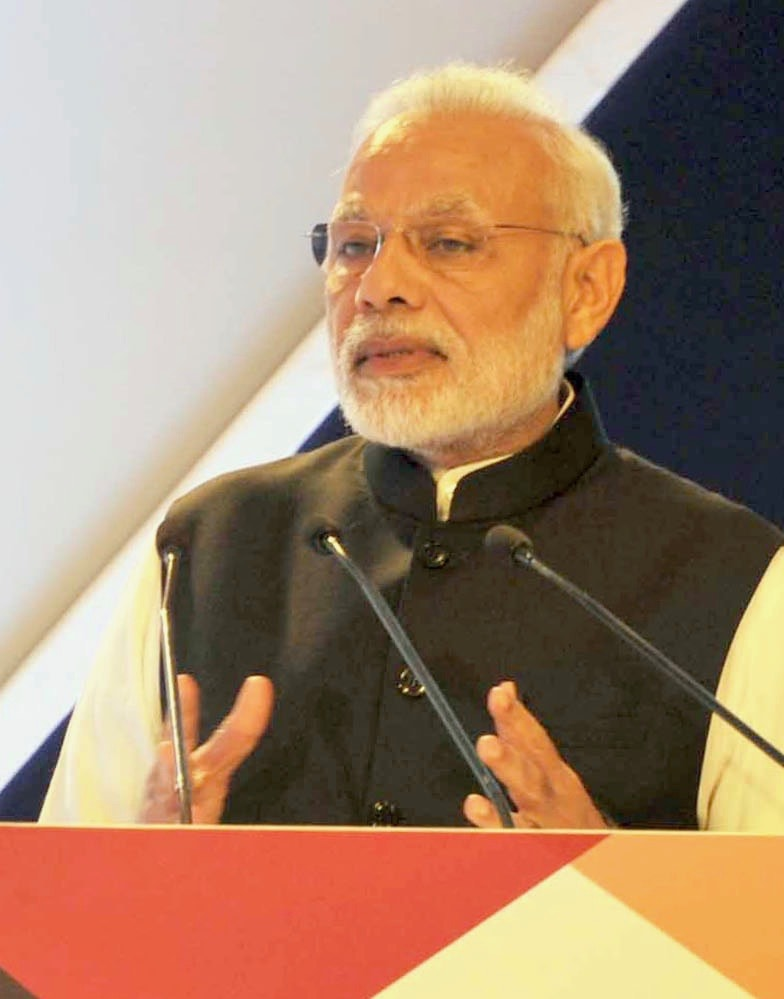 Narendra Modi addressing the India